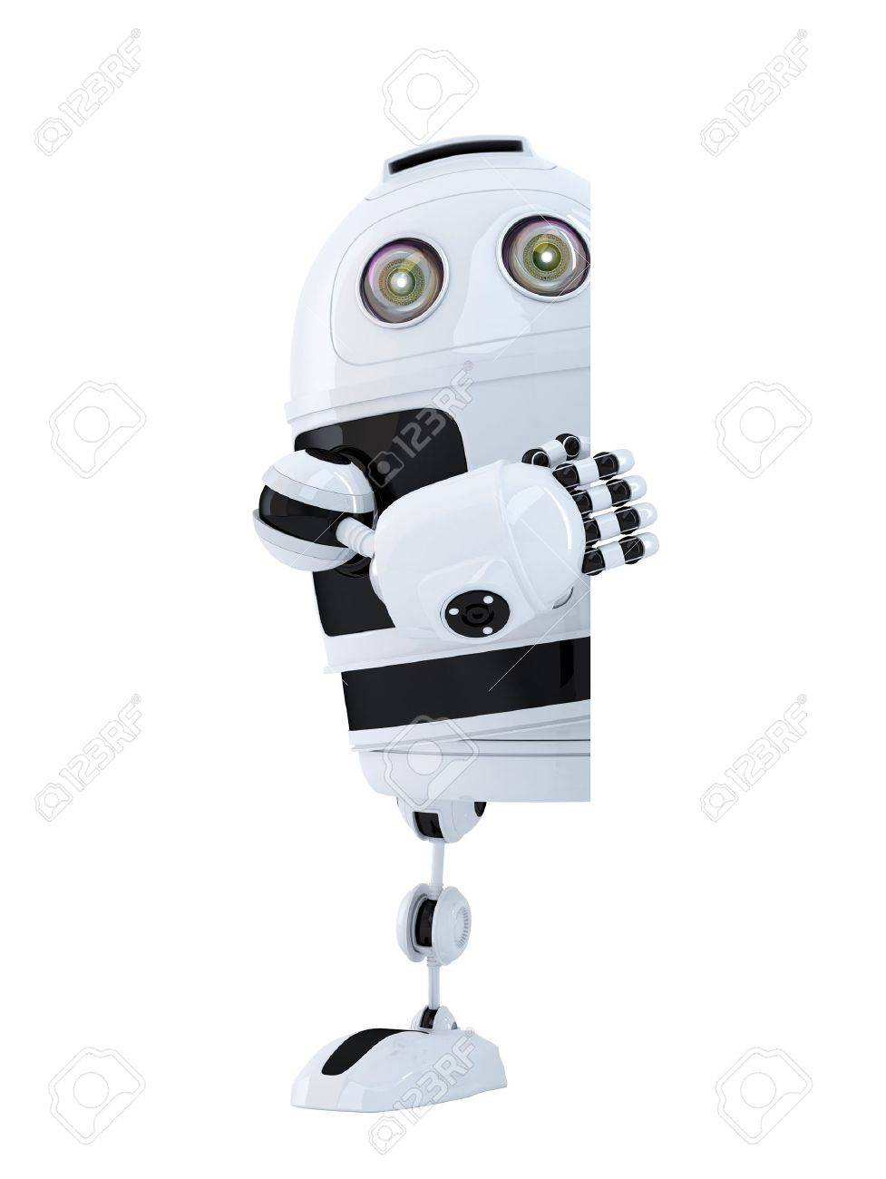 Robot standing behind blank banner. Isolated. Contains clipping path Standard-Bild - 29607652