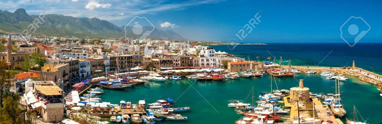 KYRENIA, CYPRUS - APRIL, 26 2014  Harbor in Kyrenia  Standard-Bild - 30163456