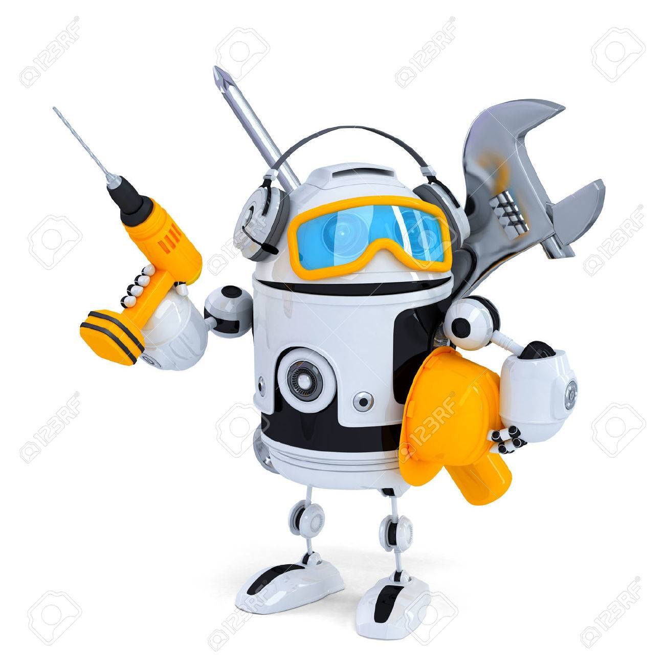 Construction robot with tools. Isolatedover white. Contains clipping path Standard-Bild - 31643296