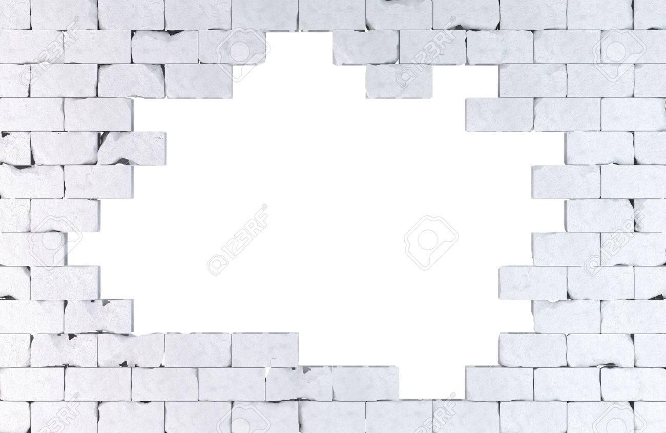 Brick wall with a large hole. Standard-Bild - 38580922