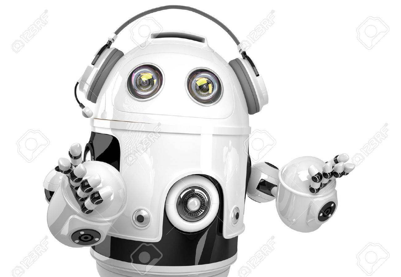 Support robot with headphone. Technology concept. Isolated. Contains clipping path. Standard-Bild - 39221562