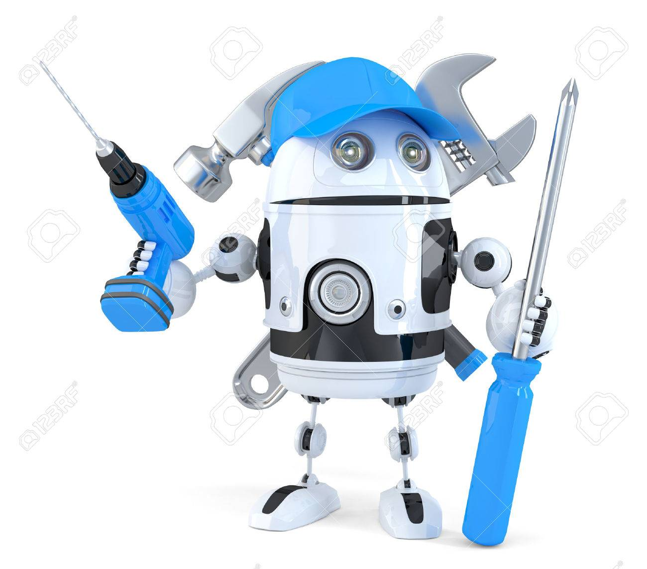 Robot with various tools. Technology concept. Isolated. Contains clipping path Standard-Bild - 40577655