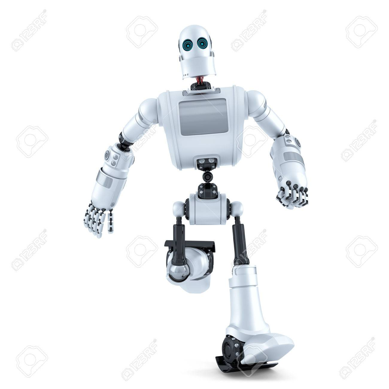 Running robot. Isolated on white. - 40577667