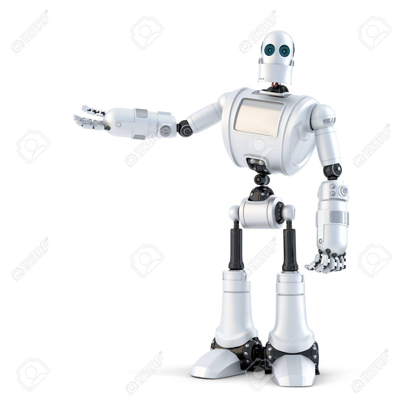 Robot presenting an invisible object. Isolated over white. Standard-Bild - 40577669