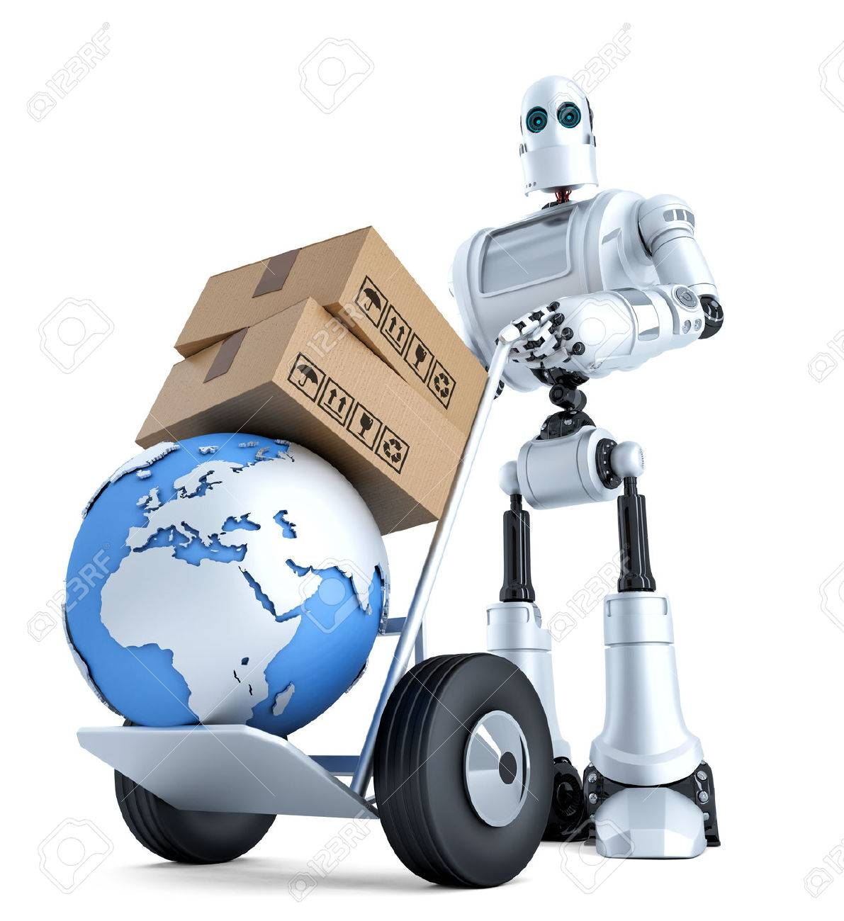 Robot with hand truck and stack of boxes. Isolated over white. Standard-Bild - 43214744