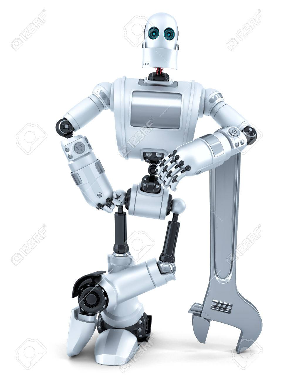 Robot with wrench. Technology concept. Isolated over white. Contains clipping path - 43215010
