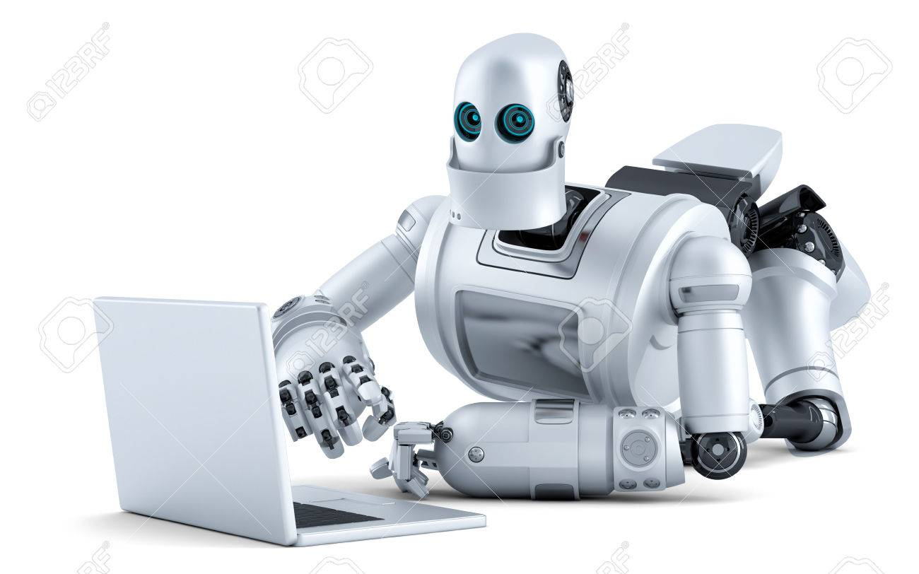 Robot laying on floor with laptop. Standard-Bild - 43215457