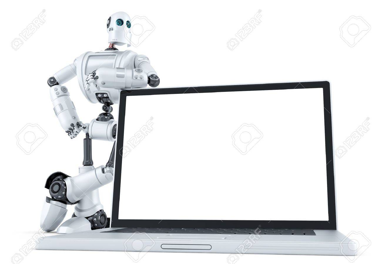Robot with blank screen laptop. Isolated over white. - 43215968