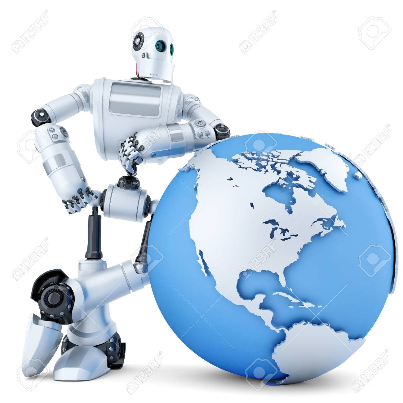 3D robot standing with globe. Technology concept. Isolated over white. Standard-Bild - 43215977