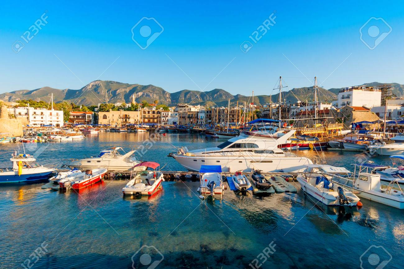 Kyrenia Girne harbor with castle on the background. Cyprus. Standard-Bild - 51873870