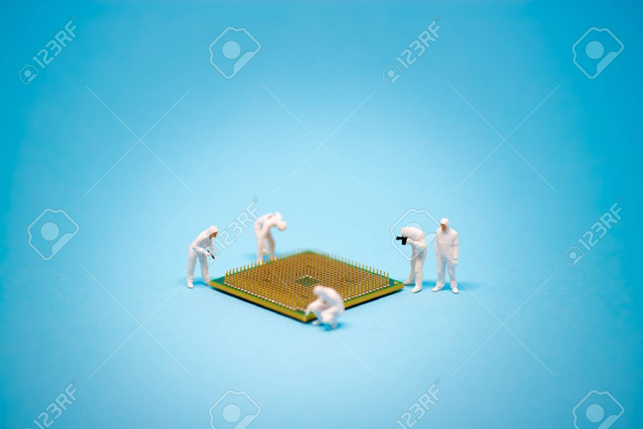Technician analysis CPU microprocessor. Technology concept - 53612035