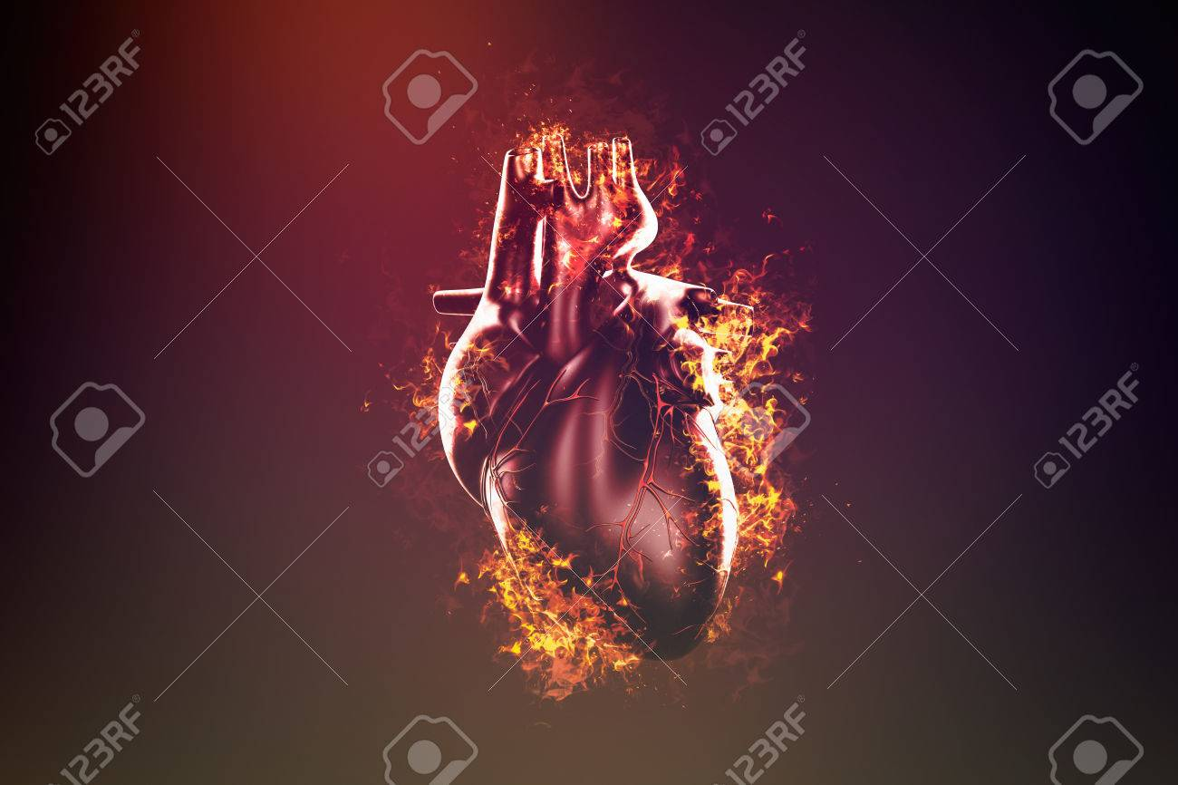 Abstract human heart in flame and smoke - 56221140