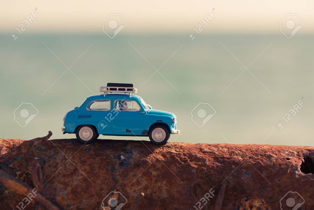 Vintage car parked near the sea. Travel and adventure concept. - 60316527