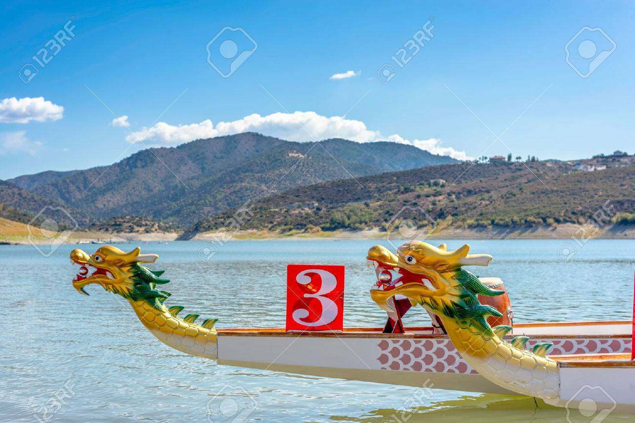 Prow of Dragon Boat - traditional Asian longboat. - 59196569