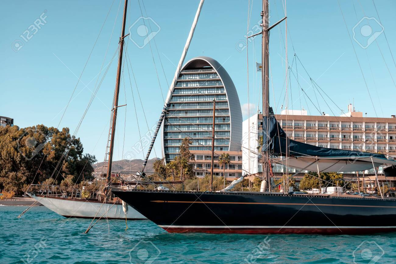 Sailing yacht anchored in Limassol, Cyprus - 150694787