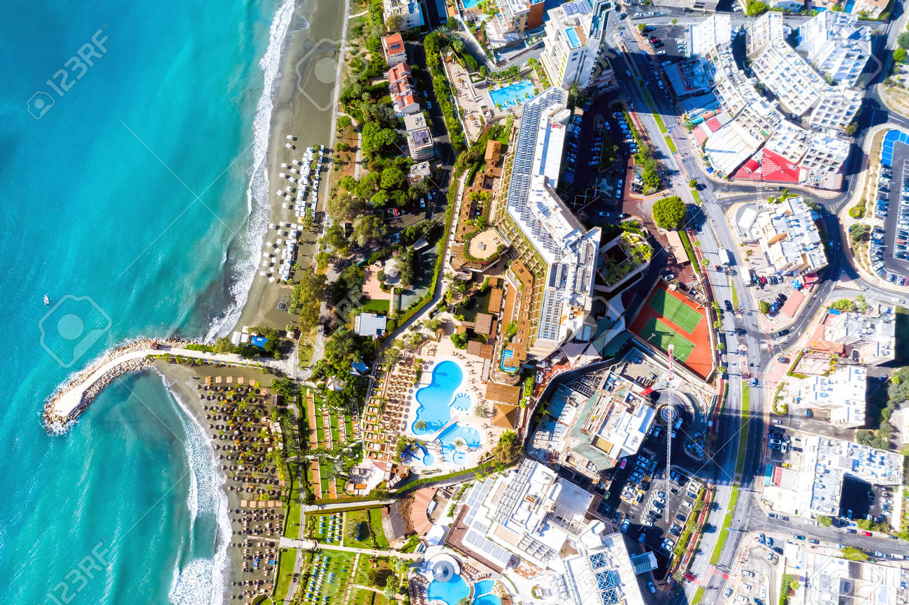 Aerial drone view of Limassol cityscape. Cyprus - 150716363