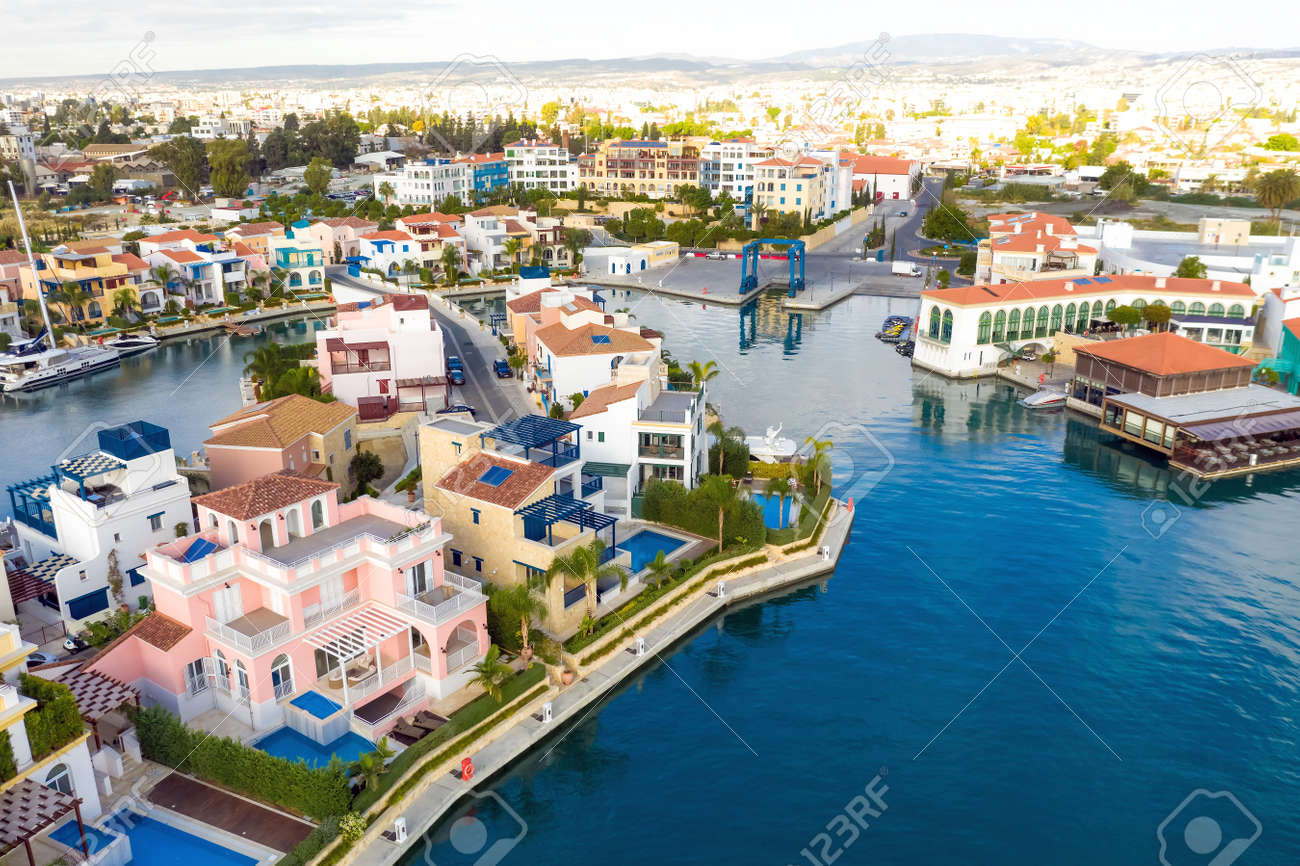 Aerial view above residential houses of Limassol Marina. Cyprus - 150716470