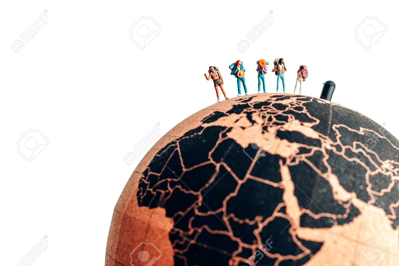 Group of miniature backpacking hikers. Travel concept - 150716497
