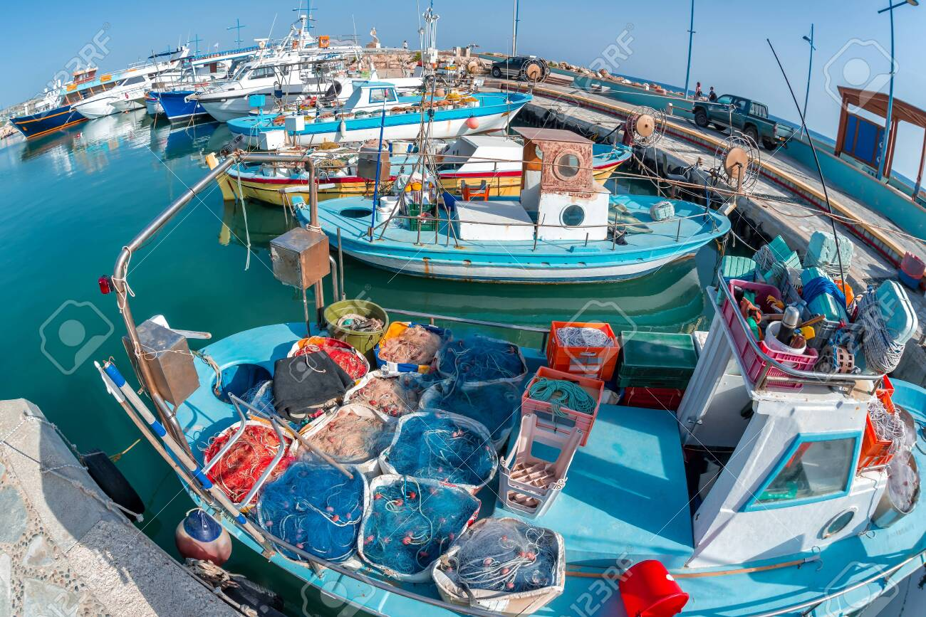 Traditional fishing boats at Ayia Anpa Harbor. Famagusta District, Cyprus - 150694426
