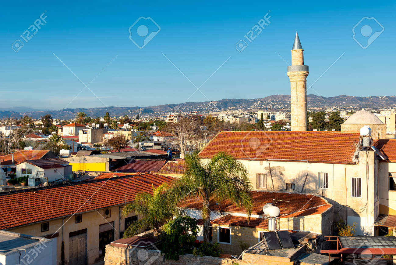 Paphos old town and Moutallos Mosque minaret. Cyprus - 150716656