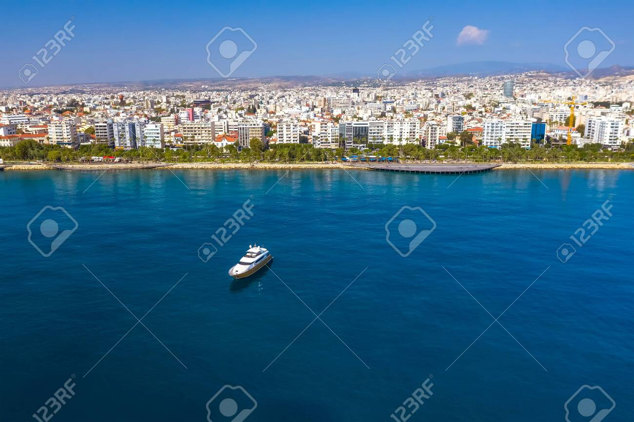 Yacht cruising near Limassol seafront, aerial view - 150716760