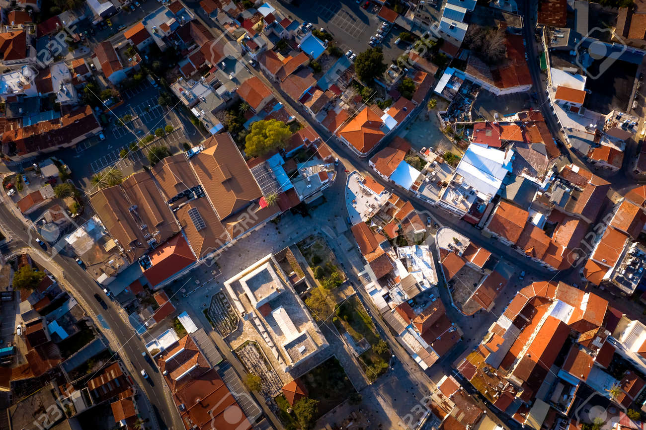 Overhead view of central square in Old Town of Limassol. Cyprus - 150716791