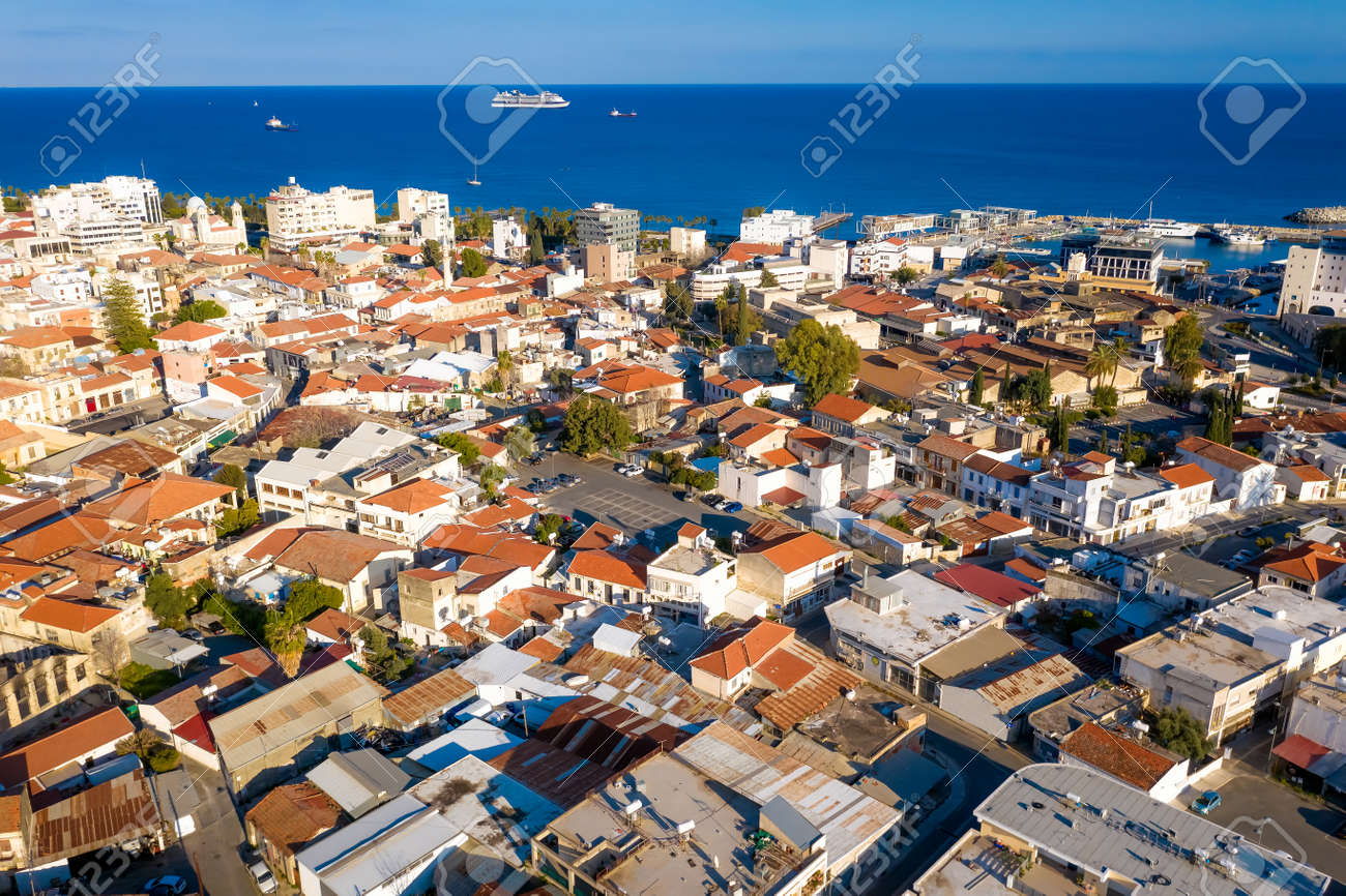 Aerial view of Limassol, Cyprus towards the sea - 150716883