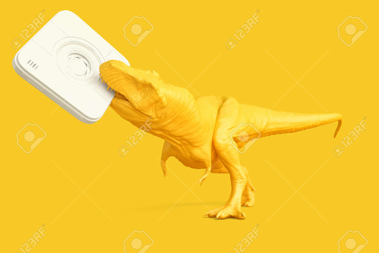 T-rex with instant camera. Technology concept. 3D rendering - 157356909