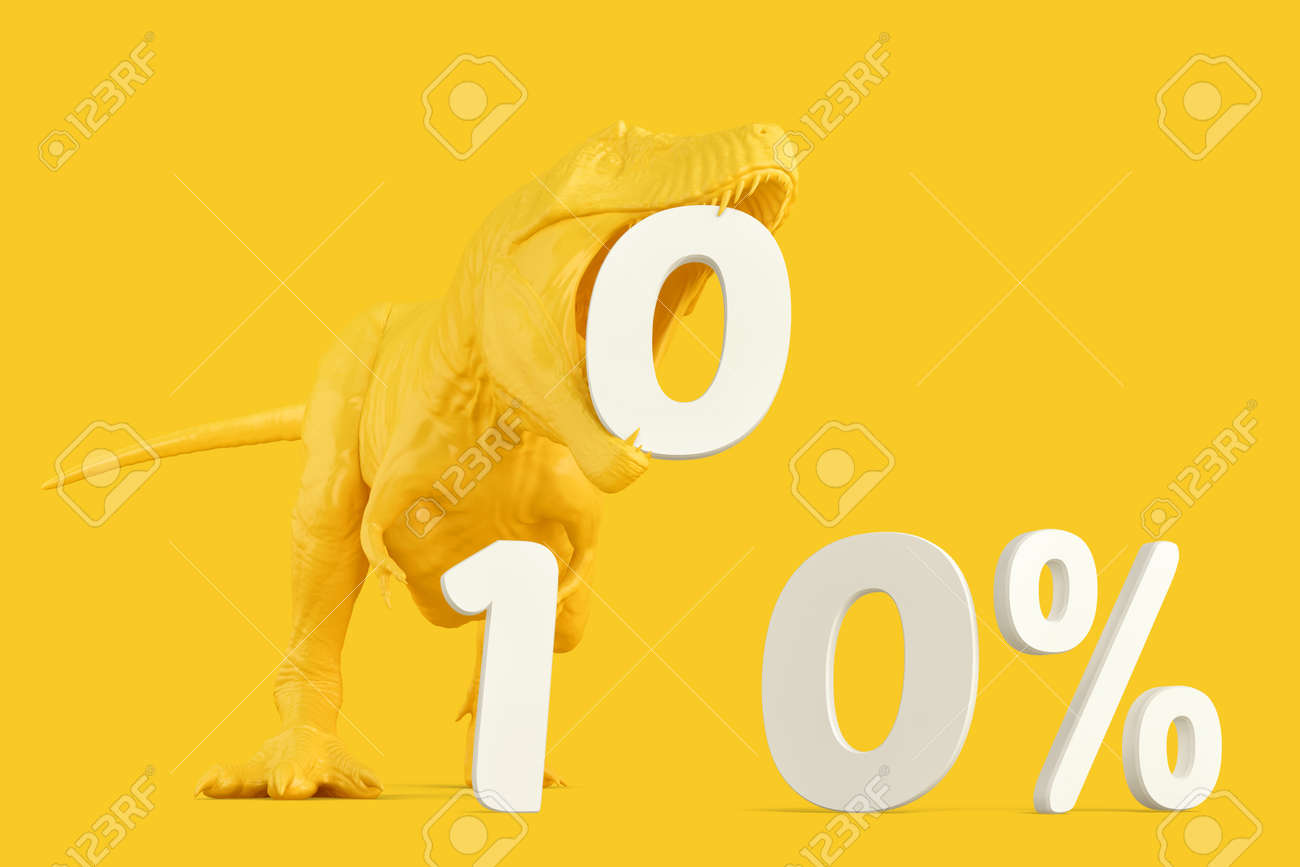 T-rex with '100%' sign. 3D rendering - 157376836