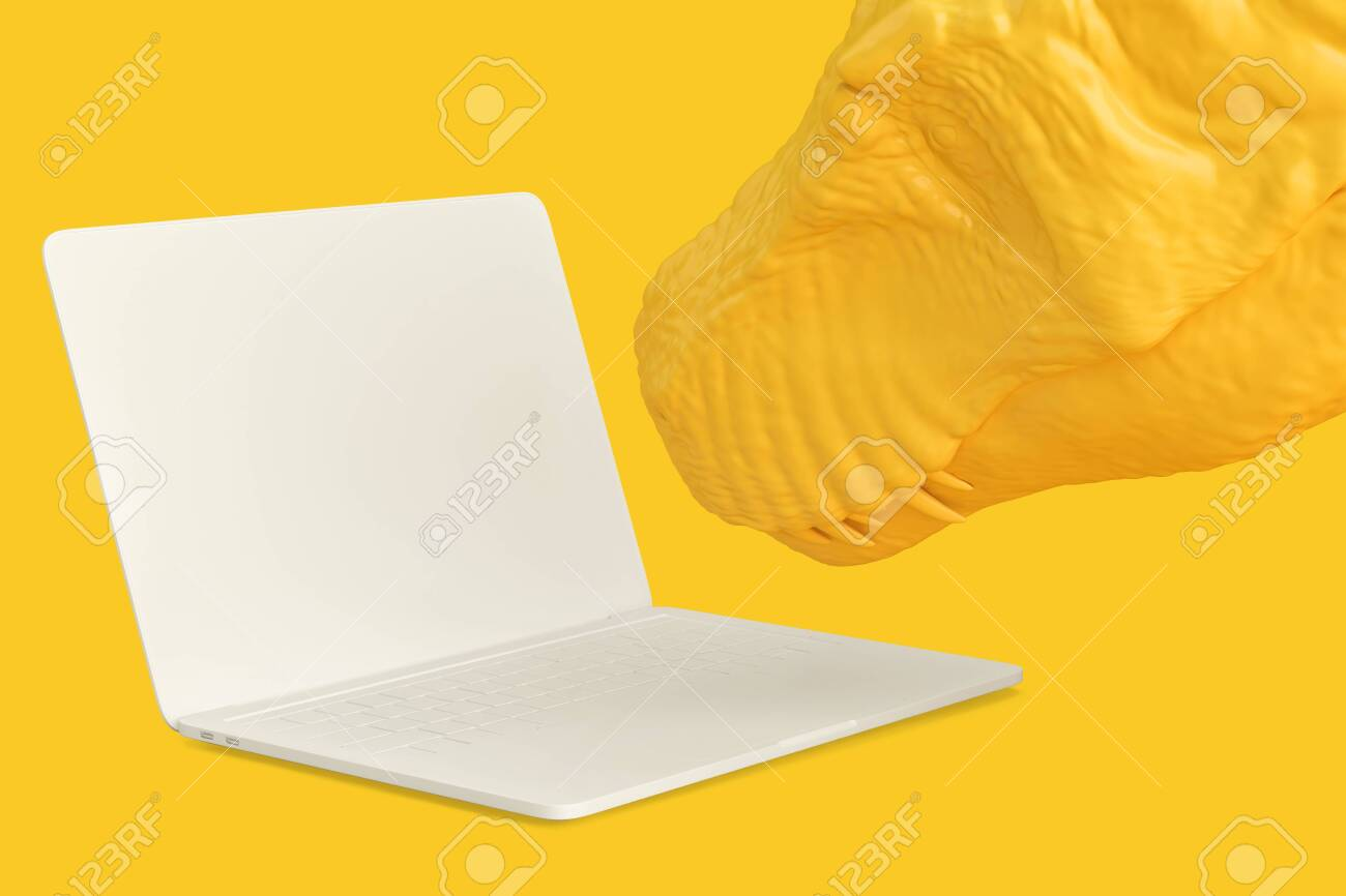 Close-up of T-rex with laptop. Technology concept. 3D rendering - 157356844