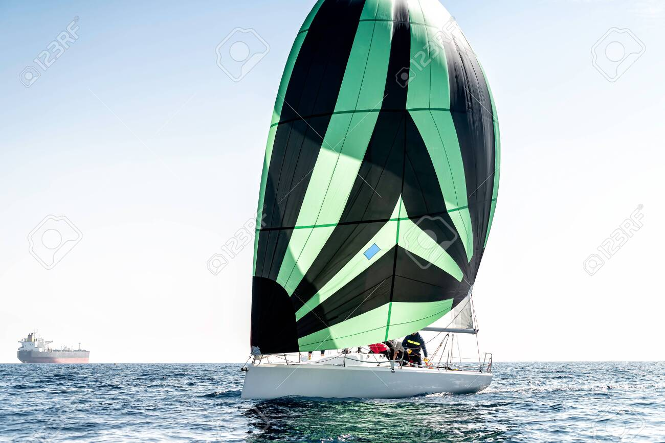 Sailing yacht in the calm blue sea - 157355814