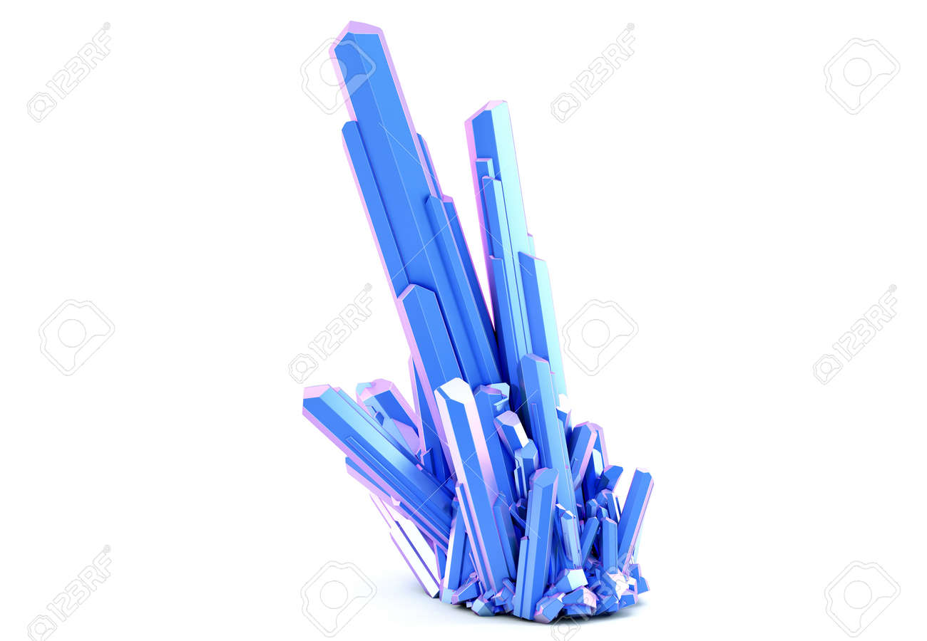 Blue color crystal cluster isolated on white background. 3D illustration - 157356886