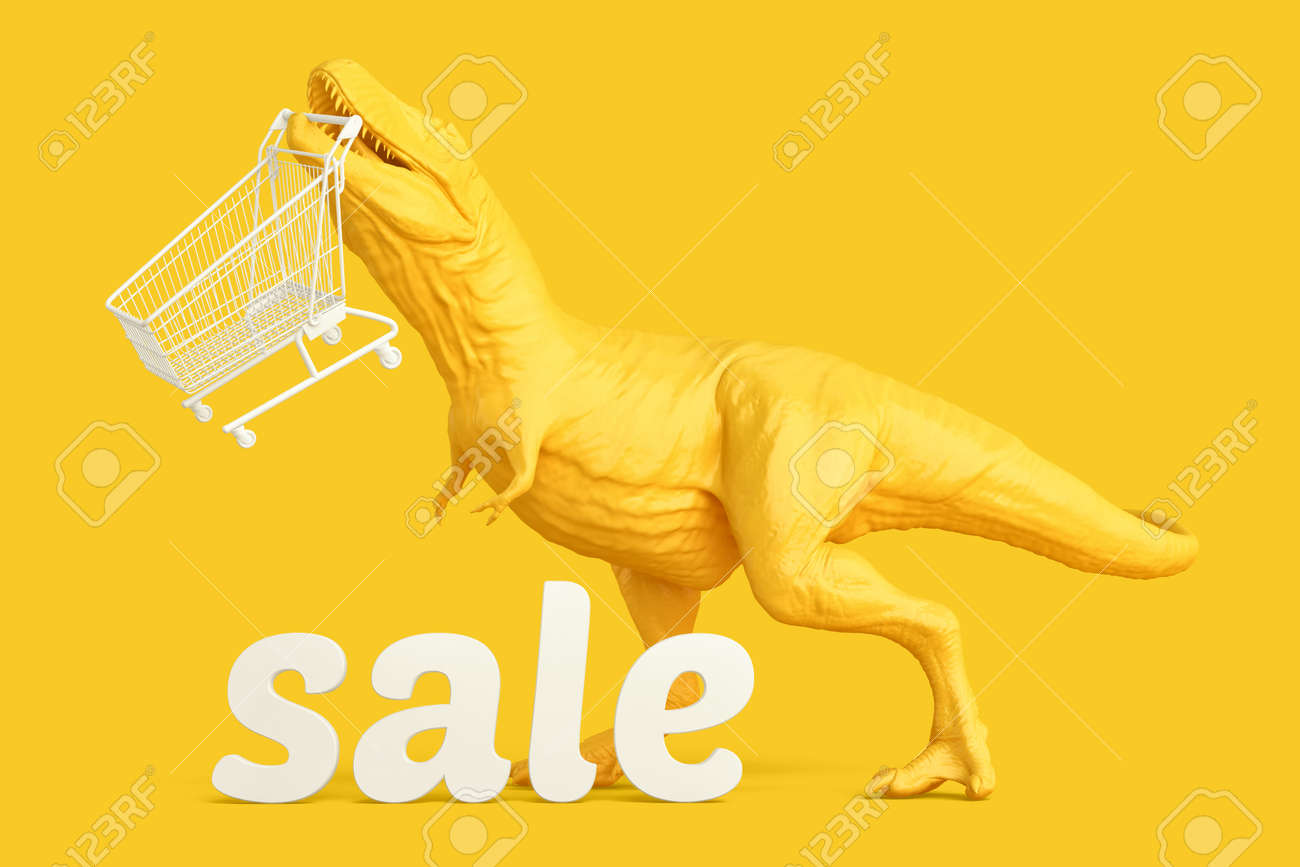 T-rex with shopping cart and 'sale' sign. Retail shopping concept. 3D rendering - 157356897