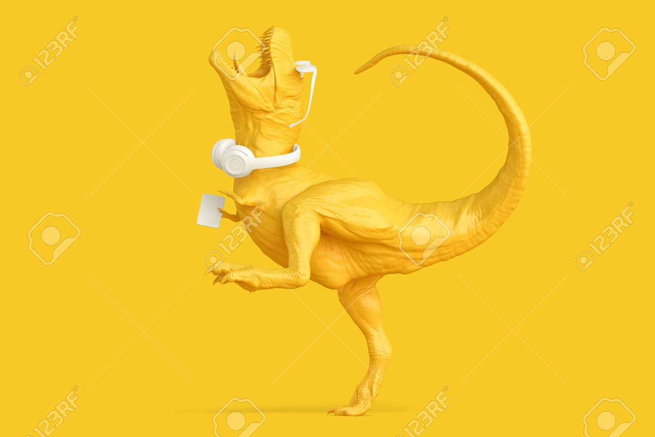 Happy T-Rex with phone, headphones and glasses. 3D illustration - 157376964
