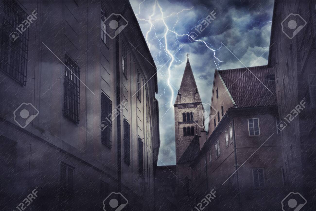Heavy storm, rain and lighting in medieval town. Digital illustration - 157355863