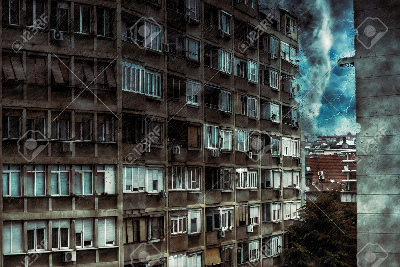 A tornado approaching to the residential building. Digital illustration - 157376992