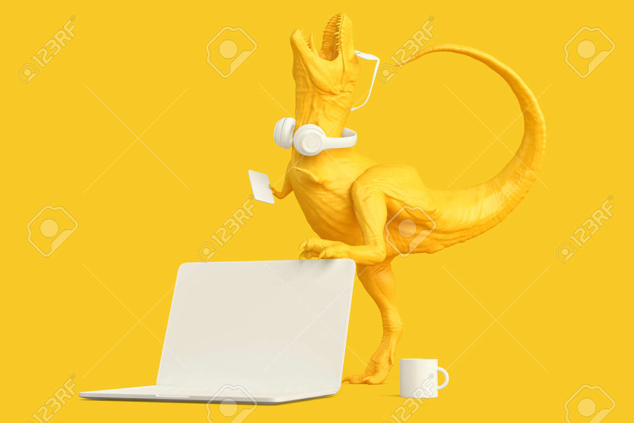 T-rex with laptop and other accessories. Technology concept. 3D rendering - 157355946