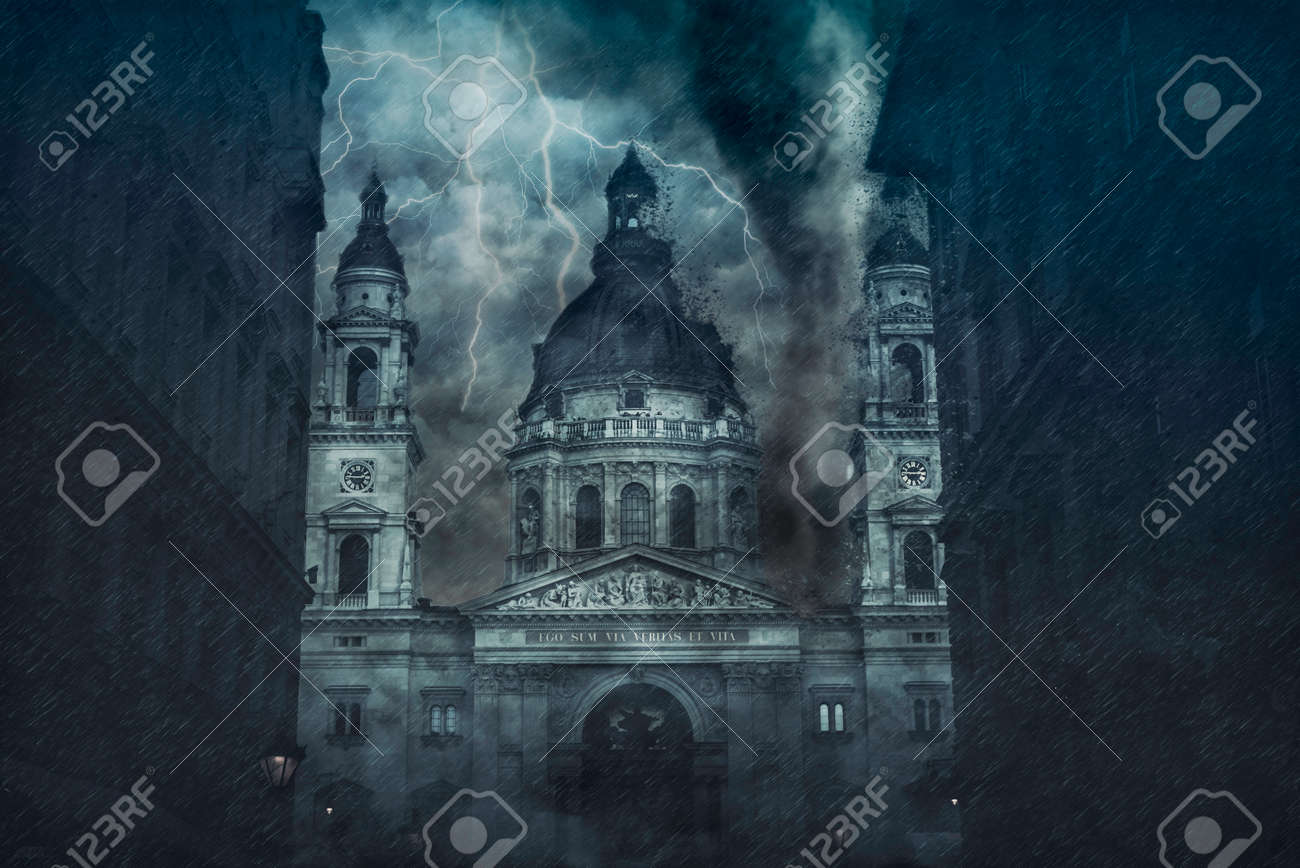Catholic basilica being destroyed by the hurricane during the storm. Digital illustration - 157377001