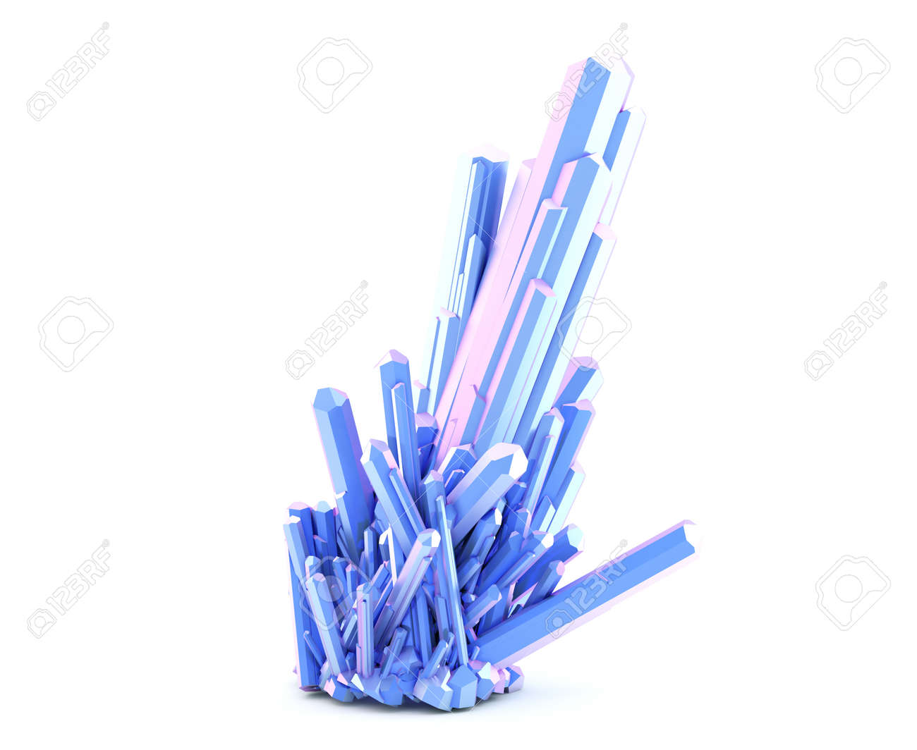 Blue color crystal cluster isolated on white background. 3D illustration - 157356862