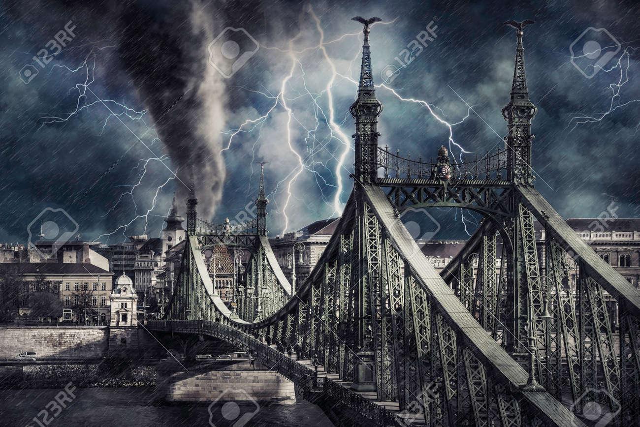 Apocalyptic Budapest cityscape with tornado, heavy rain and lighting. Digital illustration - 157377047