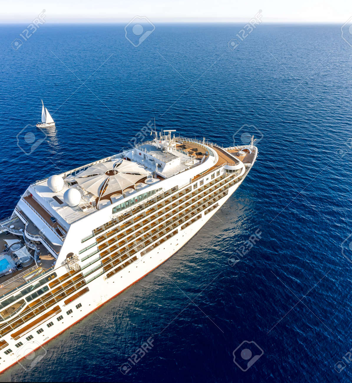 Touristic cruise ship in the waters of mediterranean sea - 157391349