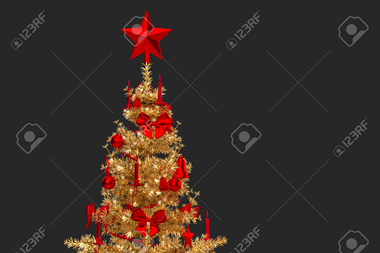 Close-up of a golden Christmas tree. 3D rendering - 161105884