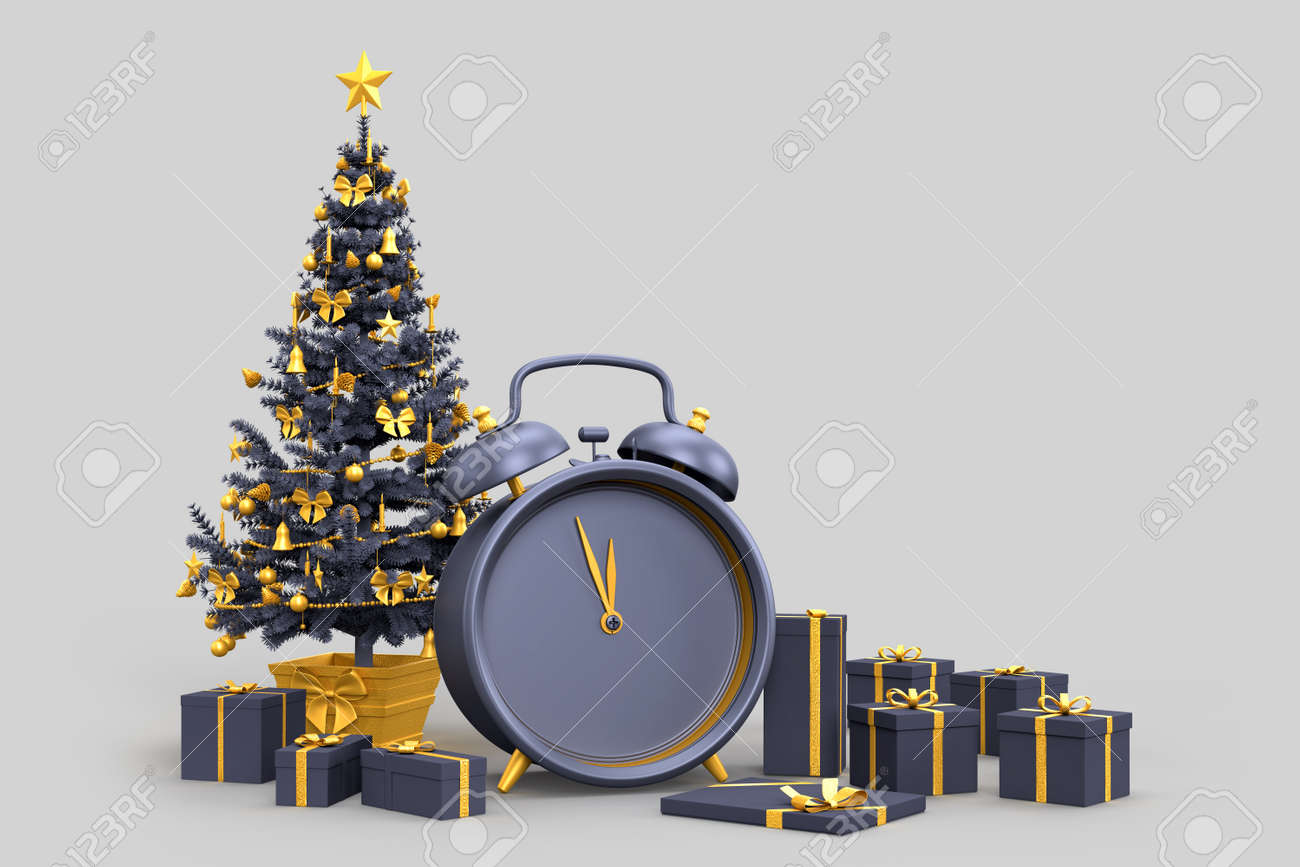 Christmas tree with gift boxes and an alarm clock shows midnight. 3D rendering - 166157947
