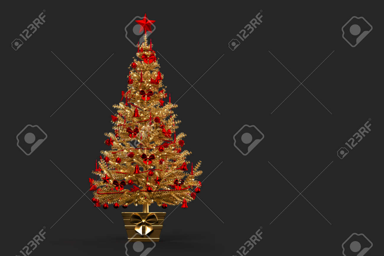 Gold coloured decorated Christmas tree. 3D rendering - 162816736