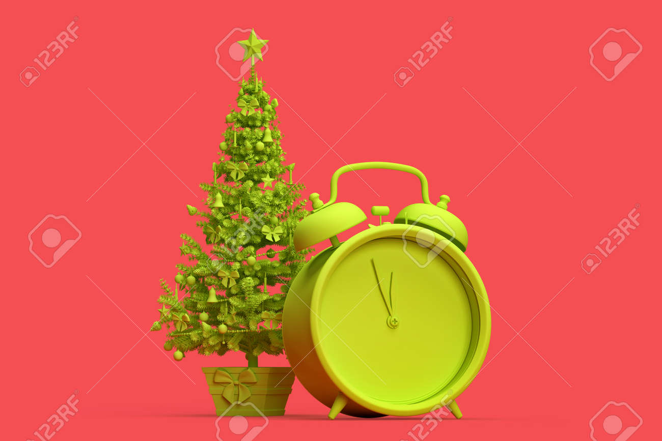 Minimalistic illustration of Christmas tree and an alarm clock. 3D rendering - 166157965