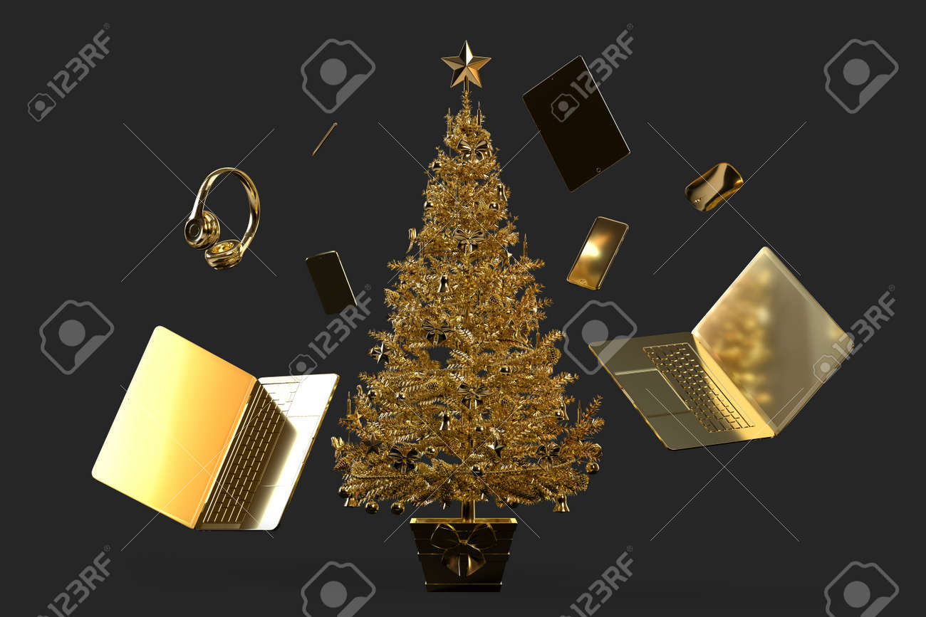 Christmas tree with various modern gadgets and accessories. 3D rendering - 161105885