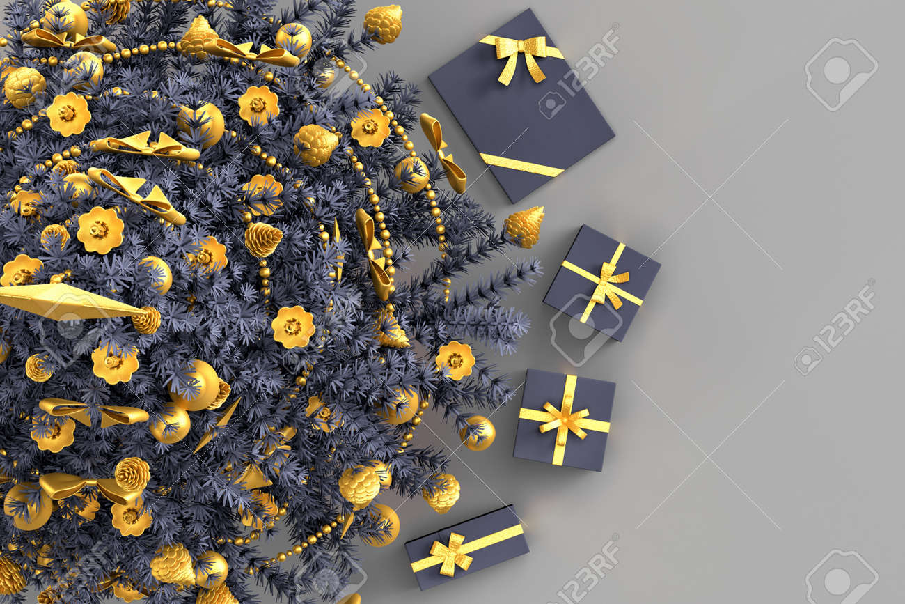 Above view of Christmas tree with gift boxes. 3D rendering - 163902647