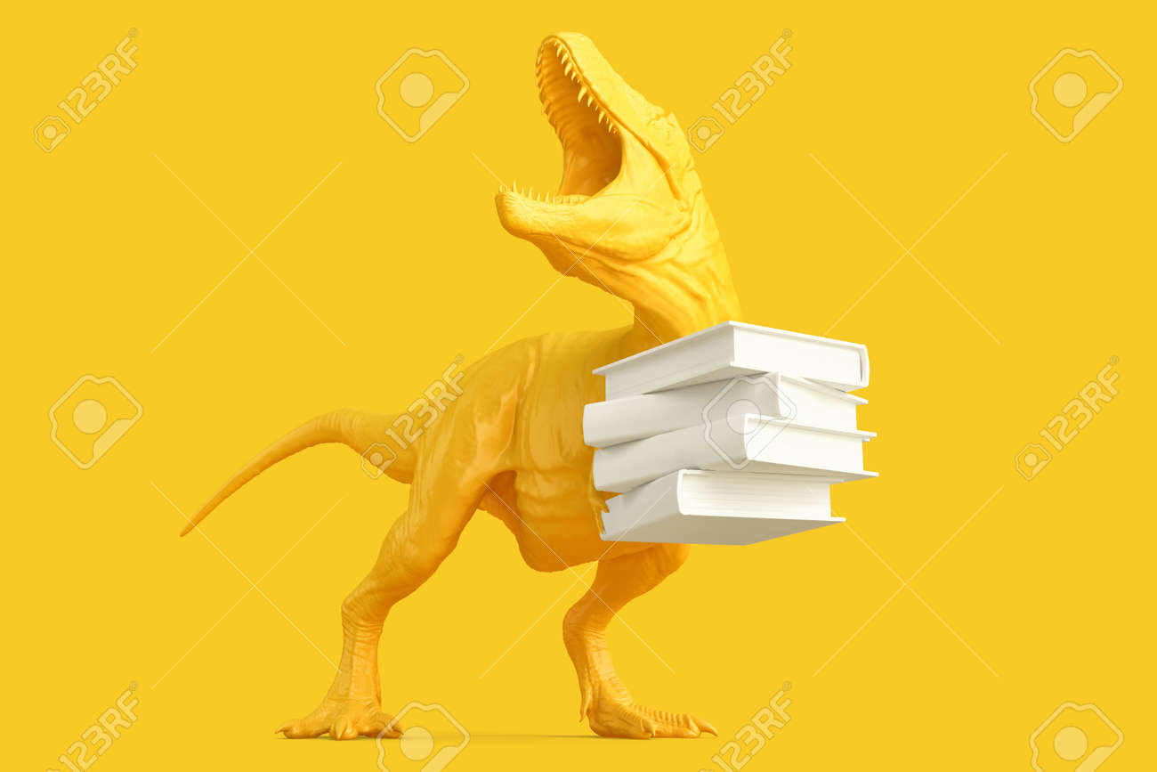 T-rex with Pile of books. 3D rendering - 163902648