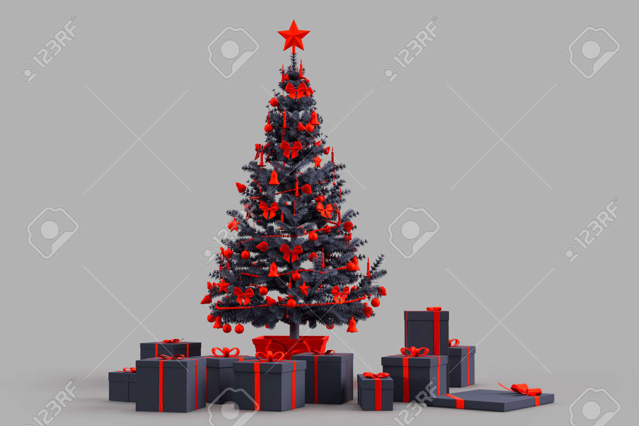 Decorated Christmas tree with gift boxes. 3D rendering - 166157972