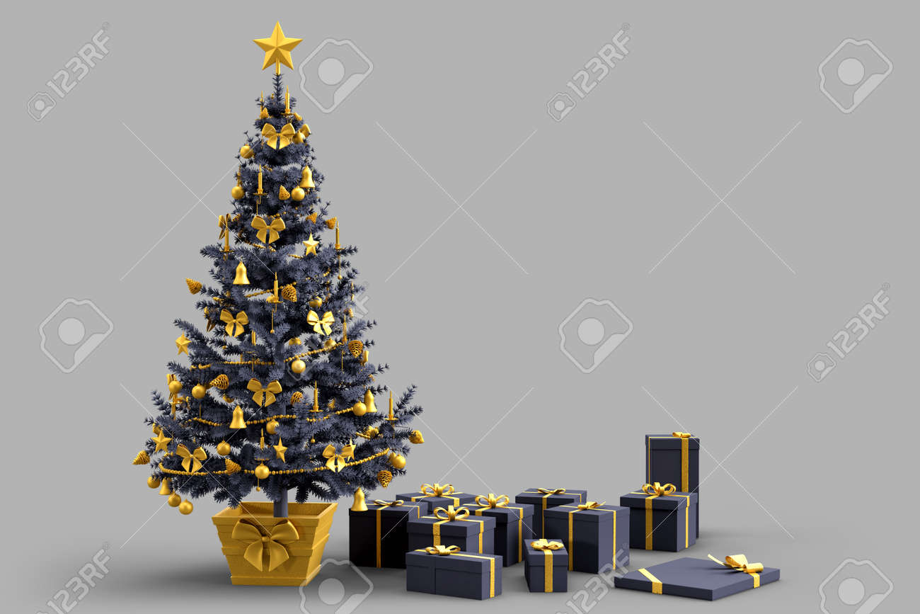 Decorated Christmas tree with gift boxes. 3D rendering - 163902650